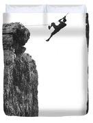 Climber Crossing On A Rope Duvet Cover by Underwood Archives