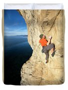 Climber Reaches For Hand Hold Duvet Cover
