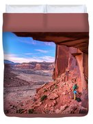 Climbers Getting Ready For Rock Duvet Cover
