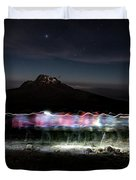 Climbers Trace Ghostly Shapes Duvet Cover