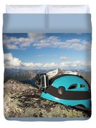 Climbing Helmet With Camera On Mountain Duvet Cover