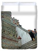 Climbing Many Steps At Temple Of The Dawn-wat Arun In Bangkok-th Duvet Cover