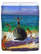 Climbing Rocks Porthmeor Beach St Ives Duvet Cover by Andrew Macara