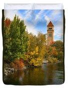 Clocktower In Fall Duvet Cover