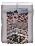 Cloistered Garden And Tower In The White City Duvet Cover