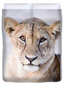 Close-up Of A Lioness Panthera Leo Duvet Cover