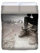 Close Up Of A Mountaineers Windblown Duvet Cover