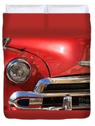 Close Up Of A Red Chevrolet Duvet Cover