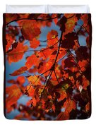 Close Up Of Bright Red Leaves With Blue Duvet Cover