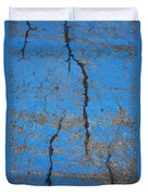 Close Up Of Cracks On A Blue Painted Duvet Cover