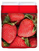 Close Up Of Delicious Strawberries Duvet Cover