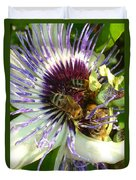 Close Up Of Passion Flower With Honey Bee  Duvet Cover