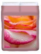 Close Up Of Pink Rose Petails Covered Dew Duvet Cover