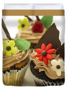 Close-up Of Three Chocolate Cupcakes Duvet Cover