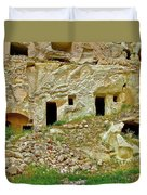 Close-up Of Tufa-carved Homes In Cappadocia-turkey Duvet Cover