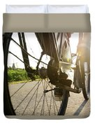 Close Up Of Wheel Of Bicycle On Road Duvet Cover