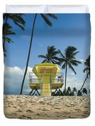 Closed Lifeguard Shack On A Deserted Tropical Beach With Palm Tr Duvet Cover