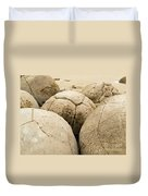 Closeup Of Famous Spherical Moeraki Boulders Nz Duvet Cover