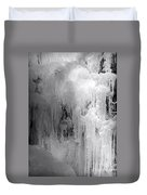 Closeup Of Icy Waterfall - Black And White Duvet Cover