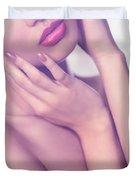 Closeup Of Sensual Woman Mouth And Pink Lips Duvet Cover