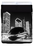 Cloud Gate Chicago Bean Black And White Picture Duvet Cover
