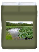 Clouds Among The Lily Pads In Swan Lake In Grand Teton National Park-wyoming  Duvet Cover