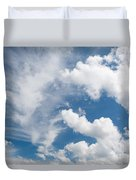 White Cirrus And Cumulus Clouds Formation Mix Duvet Cover