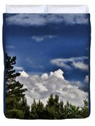 Clouds Like Mountains Behind The Pines Duvet Cover