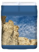 Clouds Over Chalk Pyramids Duvet Cover