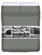Cloudy Countryside Collage - Black And White Duvet Cover