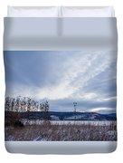 Cloudy Daybreak Dry Thistles Duvet Cover