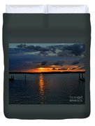 Cloudy Harbor Sunset  Duvet Cover