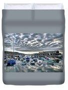 Cloudy Morning - Lyme Regis Harbour Duvet Cover