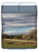 Cloudy Sky With A Log Fence Duvet Cover