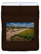Clover Leaf Exit Ramps On Highway Near City Duvet Cover