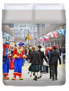 Clowns And Tartans Duvet Cover