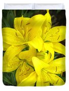 Cluster Of Yellow Lilly Flowers In The Garden Duvet Cover