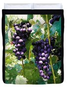Clusters Of Red Wine Grapes Hanging On The Vine Duvet Cover