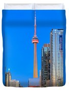 Cn Tower By Night Duvet Cover