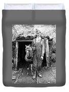 Coal Miner & Mule 1940 Duvet Cover
