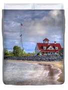 Coast Guard Station In Muskegon Duvet Cover