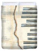 Coast Survey Chart Or Map Of California And Oregan North Of San Francisco Duvet Cover