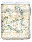 Coast Survey Map Of Cape Cod Nantucket And Marthas Vineyard Duvet Cover