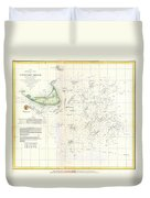 Coast Survey Nautical Chart Or Map Of Nantucket Massachusetts Duvet Cover