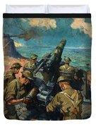 Coastal Battery Scene Artist Terence Cuneo Duvet Cover