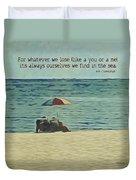 Coastal Beach - E.e. Cummings Sea Quote Duvet Cover