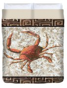Coastal Crab Decorative Painting Greek Border Design By Madart Studios Duvet Cover