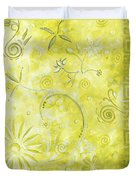 Coastal Decorative Citron Green Floral Greek Checkers Pattern Art Green Whimsy By Madart Duvet Cover