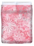 Coastal Decorative Pink Peach Floral Chevron Pattern Art Pink Whimsy By Madart Duvet Cover