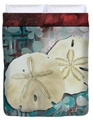 Coastal Decorative Shell Art Original Painting Sand Dollars Asian Influence I By Megan Duncanson Duvet Cover